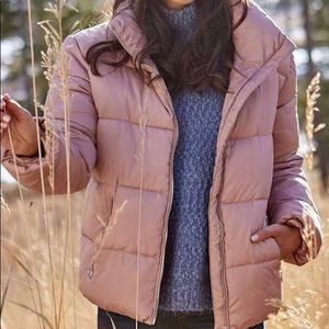Altar'd state dusty pink puffer coat NWT size S